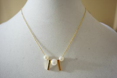 REBECCA MINKOFF Bead//Bar Asymmetric Pendant NECKLACE RV$58