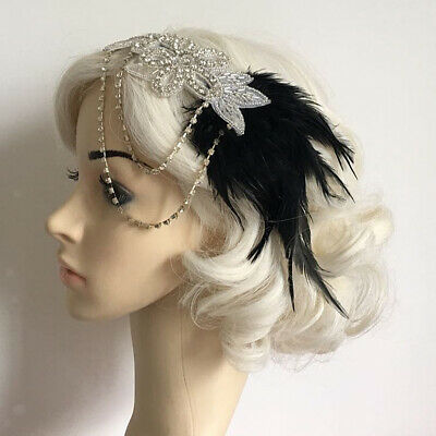20s 1920s Headband Vintage Bridal Great Gatsby Diamante Chain Costume Dress