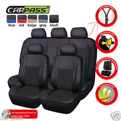 New Arrival PU Leather Black Front Rear Car Seat Coves Fit 40/60 50/50 Elasticit