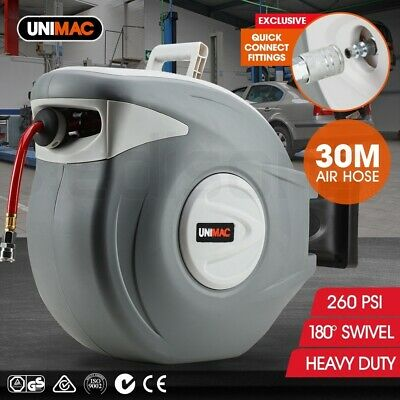 NEW Unimac 30m Retractable Air Hose Reel Commercial Auto Rewind Wall Mounted