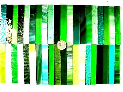 40 Mixed GREEN Mosaic Tile Strips 100mm x 15mm Stained Glass Pieces NEW Size