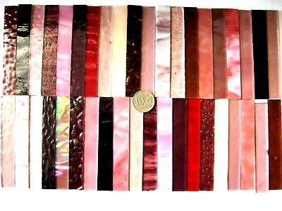40 Mixed Pinks & Plums Mosaic Tile Strips 100mm x 15mm Stianed Glass NEW Size