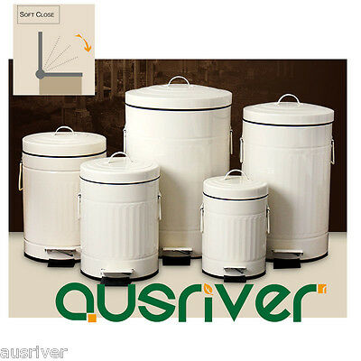 Metal Cylinder Soft Close Mute Airproof Pedal Rubbish Bin With Lid  3/5/8/12/20L