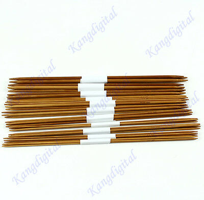 """44Pcs 11sizes 2.0-5.0mm 25cm 10"""" Smooth Double Pointed Bamboo Knitting Needles"""