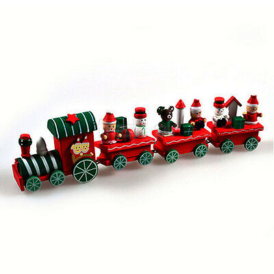 Xmas Wooden Christmas Train Santa Claus Festival Ornament Decor Kids Gift