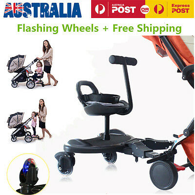 Toddler Ride ON Tandem Seat Stand Sit Board Connector For Stroller/Pram Black