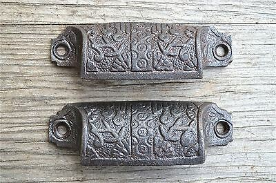 Pair Eastlake cast iron drawer pull furniture handle cabinet chest draw AL17