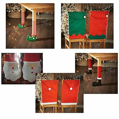 Elf OR Santa Hat Chair & Table Leg Covers Christmas Table Decoration Novelty New