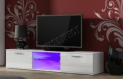 FoxHunter Modern High Gloss Matt TV Cabinet Unit Stand LED Light TVC05 White New