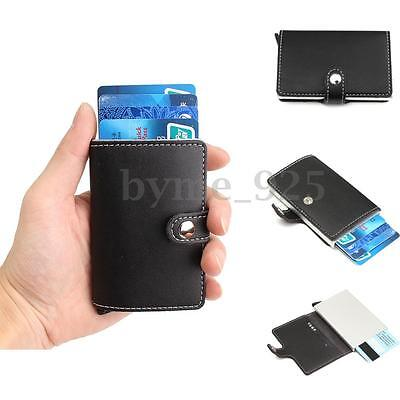 Deluxe Slim Leather Wallet Credit Card Holder Anti RFID Scanning Aluminum Case