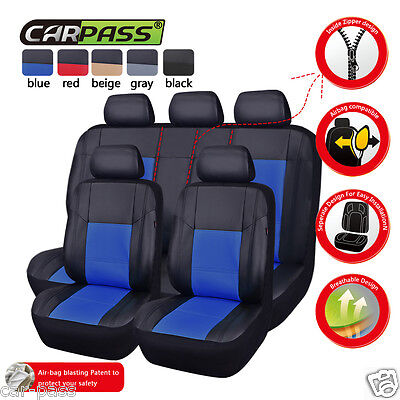 UNIVERSAL PU Leather BLack&Blue  Front &Rear Car Seat Covers Set Airbag Fit