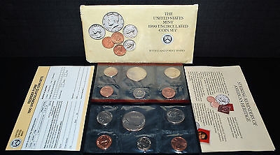 1990 US Mint Set - 10 Coin Uncirculated P & D as issued with Envelope + COA