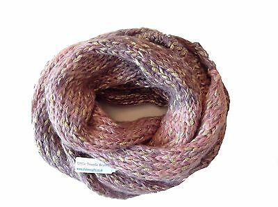 Girls Childrens 'Little People' Long Knitted Infinity Snood Scarf Gold Thread