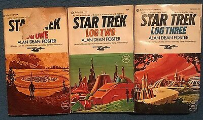 Lot STAR TREK LOG ONE TWO THREE 1 2 3 Animated Series Paperback Alan Dean Foster