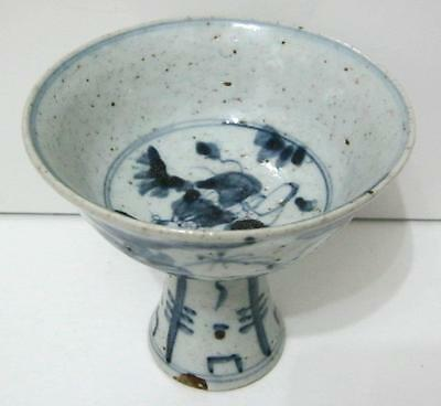 C19th Provincial Chinese Porcelain Hand Painted Stem Cup