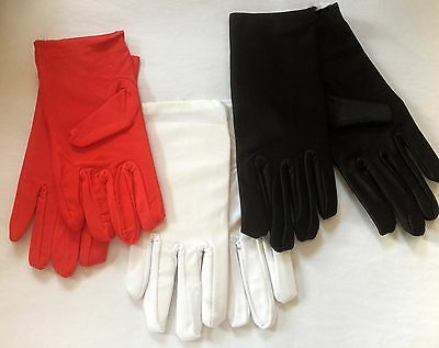 Short Silky Costume Gloves - Red | White | Black