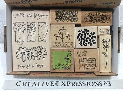 Lot Of 9 G/U Rubber Stamps Flowers ExCondition
