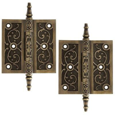 "TWO (2) ~ SOLID BRASS HAND ANTIQUED STYLE HINGES ~ 3"", 3.5"" or 4"" ~ NEW! DH02"