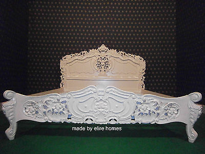 """USA King size ( 76"""" x 80"""" ) French Baroque Rococo bed hand carved Mahogany wood"""