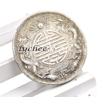Retro Chinese Traditional Feng Shui Double Dragons Lucky Coin Wealth Prayer Gift