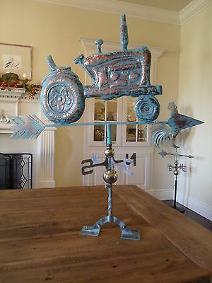 LARGE Handcrafted 3D 3Dimensional TRACTOR Weathervane Copper Patina Finish