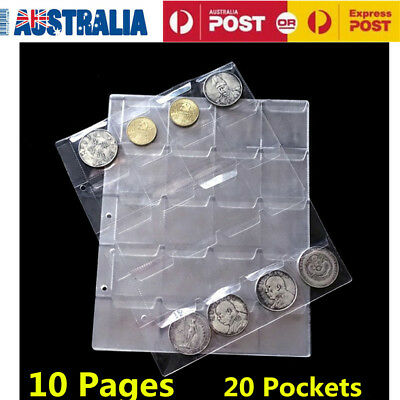 10pcs/lot Clear 20 Pocket Coins Stamp Currency Page Sheets Holder Home Favorates