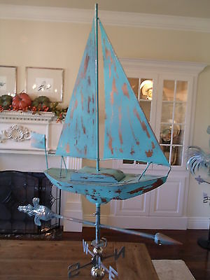LARGE Handcrafted 3Dimensional SAIL BOAT Weathervane Copper Patina Finish