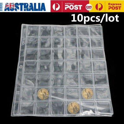10pcs/lot Clear 42 Pocket Coins Stamp Currency Page Sheets Holder Home Favorates