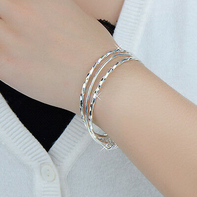 Women's 3 in 1  Silver Plated Bracelets Charm Cuff Bangles Wedding Party Jewelry