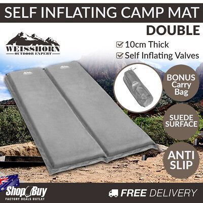 10cm Self Inflating Sleeping Mats Blow Up Mattress Camping Hiking Air Bed Double