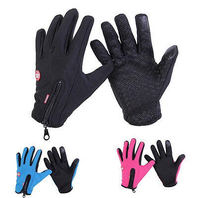 Winter Thermal Windstopper Bike Bicycle Cycling Full Finger Gloves Screen Touch