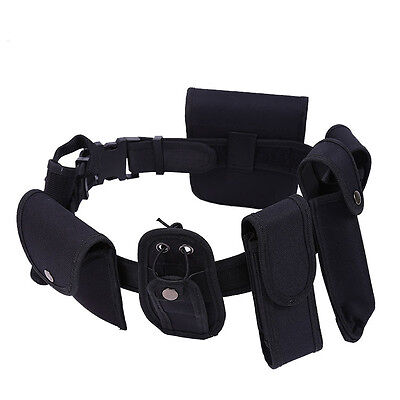 Police Guard Tactical Belt Buckles With 7 Pouches Utility Kit Security System