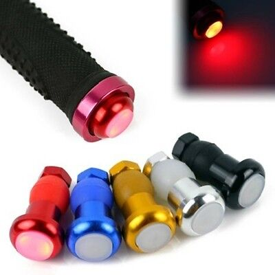 1 Pair Bike Bicycle Handlebar Grips Caps LED Handle Bar End Plugs Light Lamp