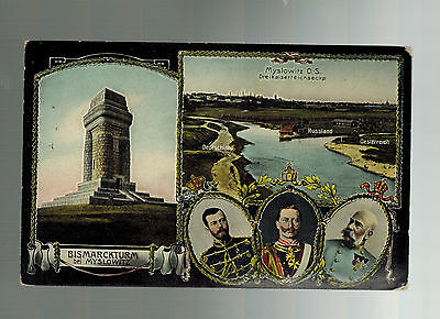 1911 Myslowitz Germany postcard Cover Triple Country Franking Russia Austria