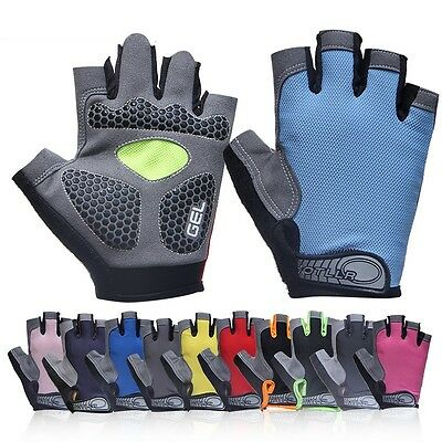 Sports Bike Bicycle Cycling 3D Gel Silicone Padded Half Finger Gloves Fingerless