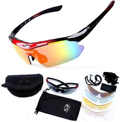 MTB Bike Cycling Glasses UV400 Sports Bicycle Riding Sunglasses Goggles 5 Lens
