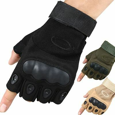 Mens Tactical Military Combat Paintball Airsoft Gloves Half Finger Hard Armoured