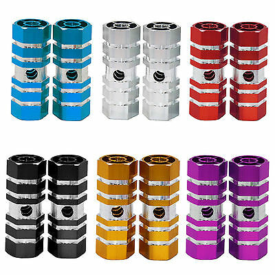 """2X Cycling Bike Bicycle BMX Axle Sexangle Cylinder Aluminum Alloy Foot Pegs 3/8"""""""