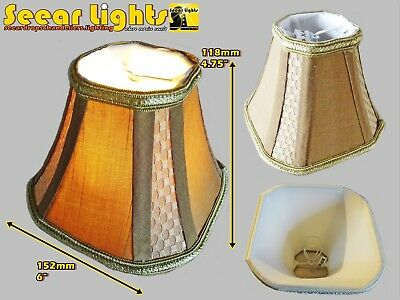Candle Square Lampshade Clip On Bulb For Chandelier Pendants Antique Gold Shade