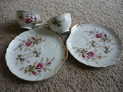 Set Of 2 Vintage Shell Luncheon Plates W Cups/Japan/ Vivid Pink Floral