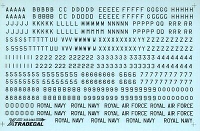 """Xtradecal X48044 1/48 RAF Black Letters, Numerals 4"""" ,8"""" and 12"""" Model Decals"""