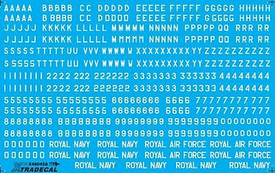 """Xtradecal X48045 1/48 RAF White Letters, Numerals 4"""" ,8"""" and 12"""" Model Decals"""