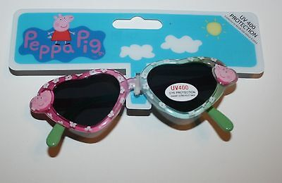 New Next Peppa Pig Sunglasses Heart Shaped Pink Blue Green UV400 Happy & Fun