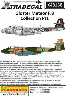 Xtradecal X48158 1/48 Gloster Meteor F.8 Collection Pt 1 Model Decals