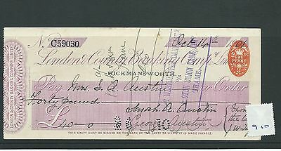 wbc. - CHEQUE - CH910 - USED -1901 - LONDON & COUNTY BANKING, RICKMANSWORTH