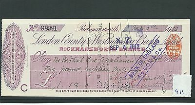 wbc. - CHEQUE - CH911 - USED -1912 - LONDON COUNTY & WESTMINSTER, RICKMANSWORTH