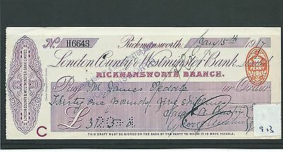 wbc. - CHEQUE - CH913 - USED -1917 - LONDON COUNTY & WESTMINSTER, RICKMANSWORTH