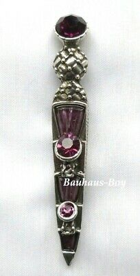 KILT PIN ORNATE PEWTER DIRK FAUX AMETHYST AND PURPLE STONES MADE by MIRACLE NEW