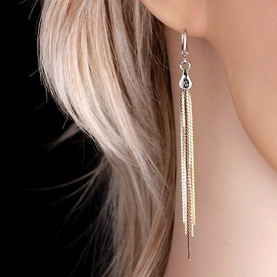 "9ct 9K White Yellow & Rose ""Gold Filled"" Ladies Extra Long Earrings. 80mm , Gift"