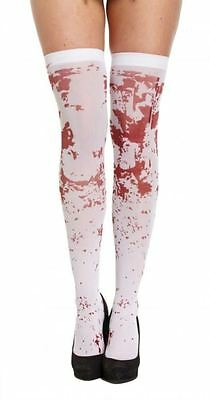 New Ladies Blood Stained Over The Knee White Socks Halloween Fancy Dress
